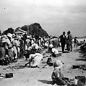 Sand garden contest on the beach at Currumbin, Queensland, circa 1930s Photographer unknown