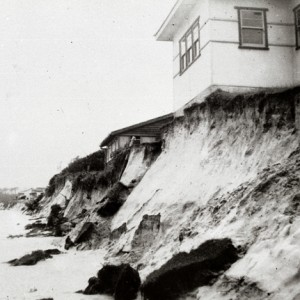 Beach erosion in the vicinity of the Palm Beach Surf Life Saving Club, Palm Beach, Queensland, 1954 Max Thomson, photographer