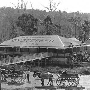 Booningba Railway Station and the Oysterbed Hotel, Burleigh, Queensland, circa 1919 Photographer unknown