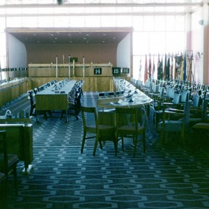 Conference room at Lennons Hotel, Broadbeach, Queensland, circa 1960s G A Black photographer