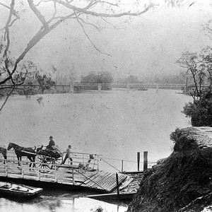 Coomera ferry and railway bridge, Queensland, circa 1890 Photographer unknown