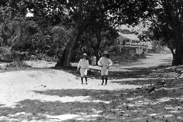 Tom and Harry Atkin walking along the future Cavill Avenue December 1925 Bill Atkin photographer