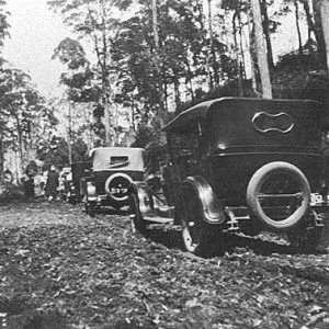 Vehicles on the Springbrook road on the day of official opening, Queensland, 1926 Photographer unknown