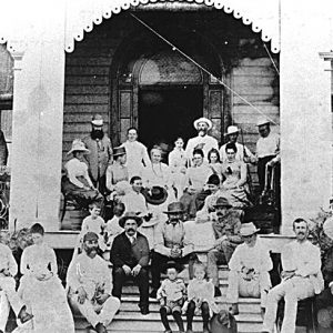 Guests in front of the Grand Hotel, Labrador, circa 1889. Photographer unknown