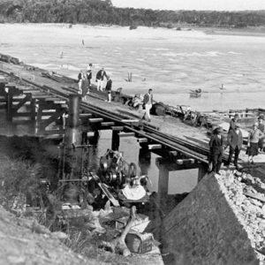 First Tallebudgera Creek Bridge under construction, circa 1925. Photographer unknown