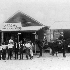Andrew's family General Store managed by Samuel, Robert, and Thomas C Andrews, Mudgeeraba, 1919. Photographer unknown