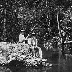 Ben Franklin and Rankin Andrews at Little Nerang Creek, Mudgeeraba, circa 1910s. Photographer unknown