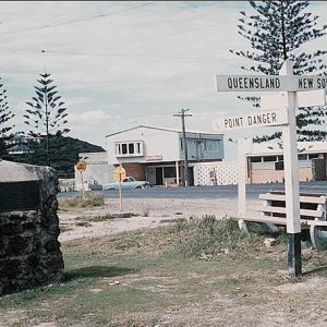 The Queensland and New South Wales border, 1950s. Vickery Telfer, photographer.